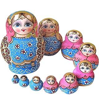 YAKELUS Marchio di Matrioska specializzato, nesting dolls Matrioske Bambola Matrioska russa in 10 pezzi, tiglio di zona frigida, regalo e giocattolo 1073