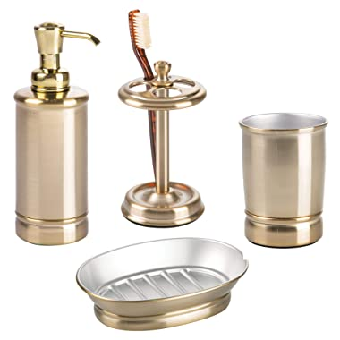 mDesign Metal Bathroom Vanity Countertop Accessory Set - Includes Refillable Soap Dispenser, Divided Toothbrush Stand, Tumbler Rinsing Cup, Soap Dish - 4 Pieces - Soft Brass