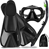 WACOOL Snorkeling Package Set for Adults Full Foot Pocket Fins Anti-Fog Coated Glass Diving Mask Snorkel with Silicon…