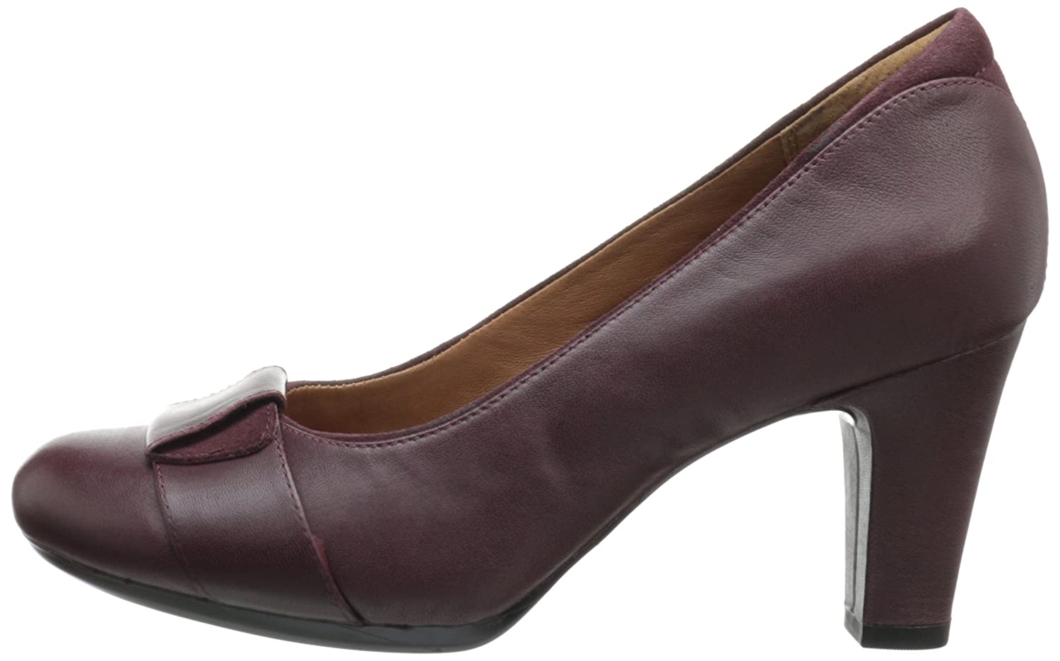 Amazon.com | CLARKS Women's Society Disc, Burgundy Leather, 12 B-Medium |  Pumps