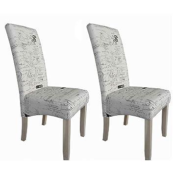 Esszimmerstühle 2er Set Hochlehner Küchenstuhl Schrift Design Stuhl Stoff /  Holz
