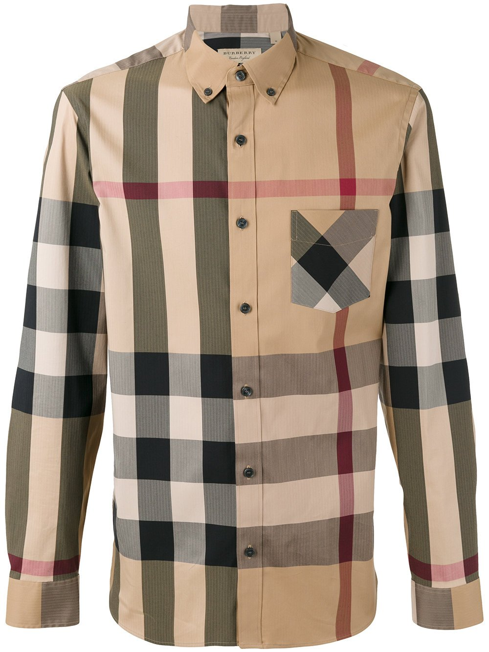BURBERRY Men's Thornaby Camel Check Shirt XXL