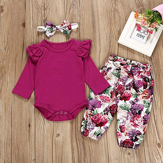 Amazon.com: Winsummer Newborn Baby Girl 3pcs Clothes Set Long Sleeve ...