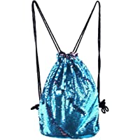 YoungRich Sequin Drawstring Bag Magic Mermaid Backpack Fashion Outdoor Sports Bag Travel Light Convenient Cord Schoolbag for Women Girls Teens Rainbow Color