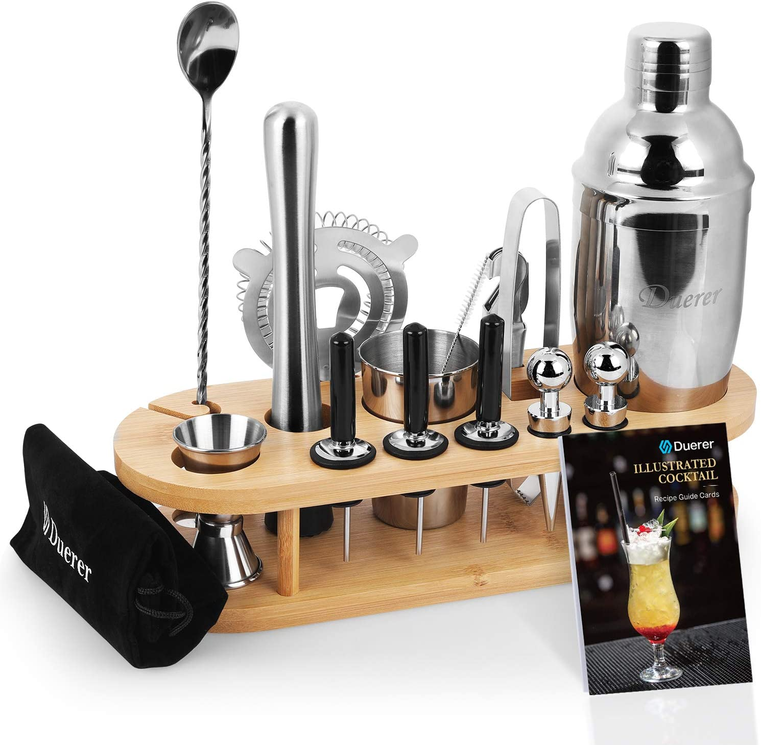 Duerer Cocktail Shaker Set, 23-Piece Professional Martini Bartender Kit with Bamboo Stand, Perfect Home Bar Kit Have Cocktail Shaker, Muddler, Jigger, Strainer, Velvet Carry Bag & Recipes, and More