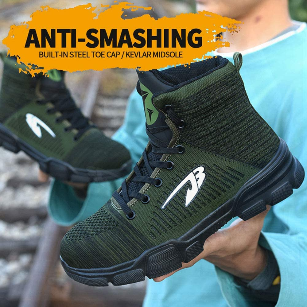 GUFANSI Sicherheitsschuhe Herren Arbeitsschuhe Damen mit Stahlkappe Leicht Sportlich Atmungsaktive Boots Trekkingschuhe High-Top Unisex Sneaker Outdoor