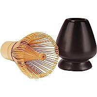 Matcha Tea Whisk Set - Bamboo Chasen and Black Whisk Holder Rest Set