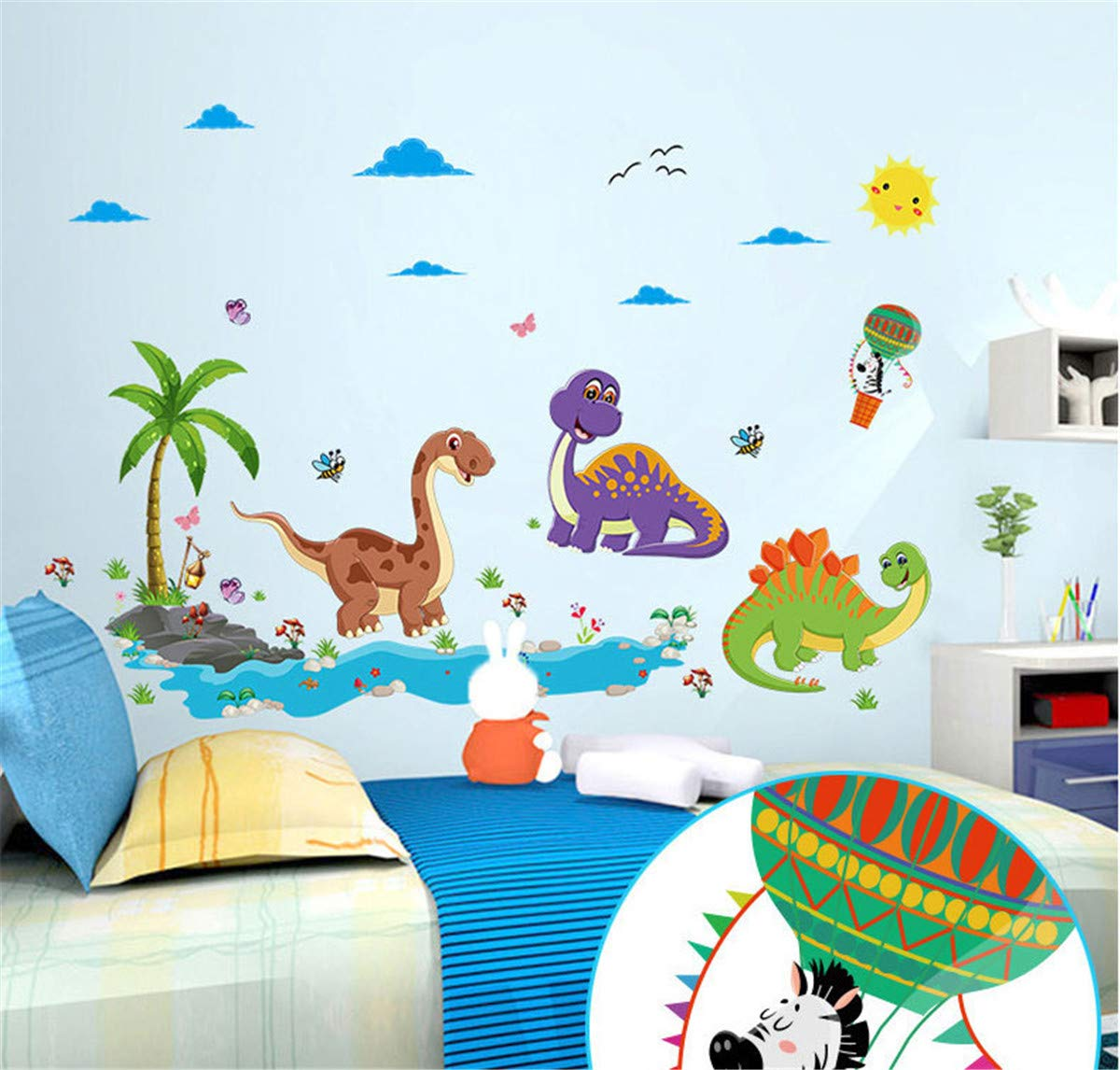 CT COUTUDI Peel and Stick Dinosaur Wall Decals Removable Wall Stickers for Kids Nursery Bedroom Living Room