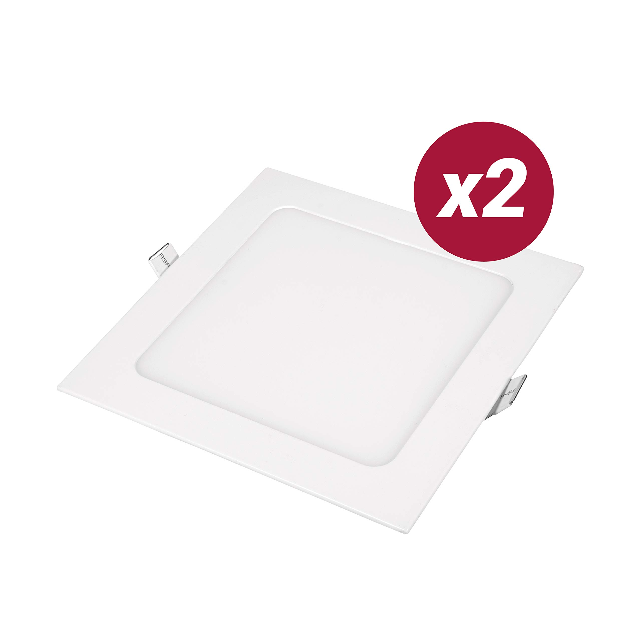 POPP- Pack 2 Downlight LED Extraplano Cuadrado Blanco,chip OSRAM Iluminacion LED Plafón de