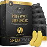 24K Gold Eye Mask– 20 Pairs - Puffy Eyes and Dark Circles Treatments – Look Less Tired and Reduce Wrinkles and Fine Lines Und