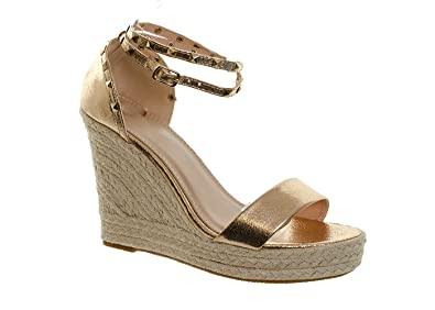 f997753e3eb Women s Studded Metallic Espadrille Platform Wedges Summer Sandals Ladies