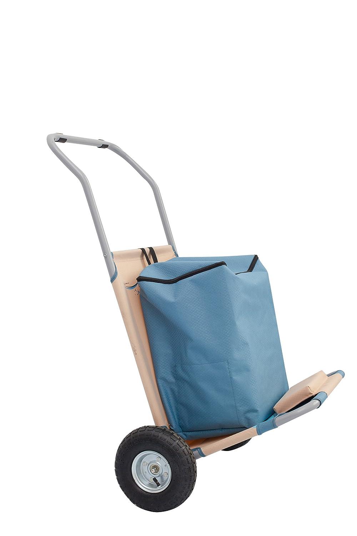 Meerweh - Mochila Plegable de Transporte, Beige/Azul, Carro para la Playa, 118 x 63 x 75 cm: Amazon.es: Jardín