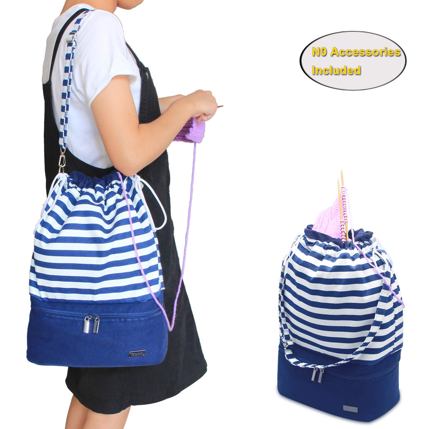 Teamoy Knitting Bag, Drawstring Travel Shoulder Tote Bag Organizer for Yarn, Unfinished Project, Knitting Needles and Accessories, Perfect for Knitting on The Go,Blue Strips, No Accessories Included