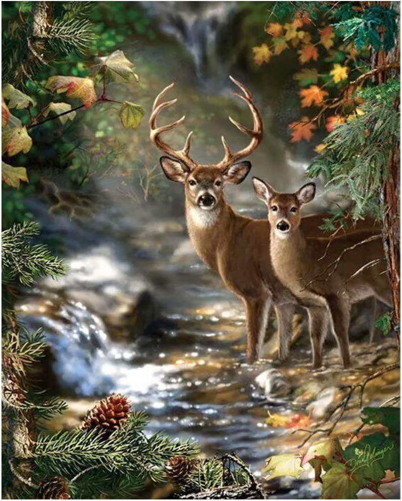 WDEY DIY 5D Diamond Painting,by Number Kits Crafts & Sewing Cross Stitch, Diamond Crystal Rhinestone Painting Set Embroidery Art Craft Home Decoration,Letter (Deer)