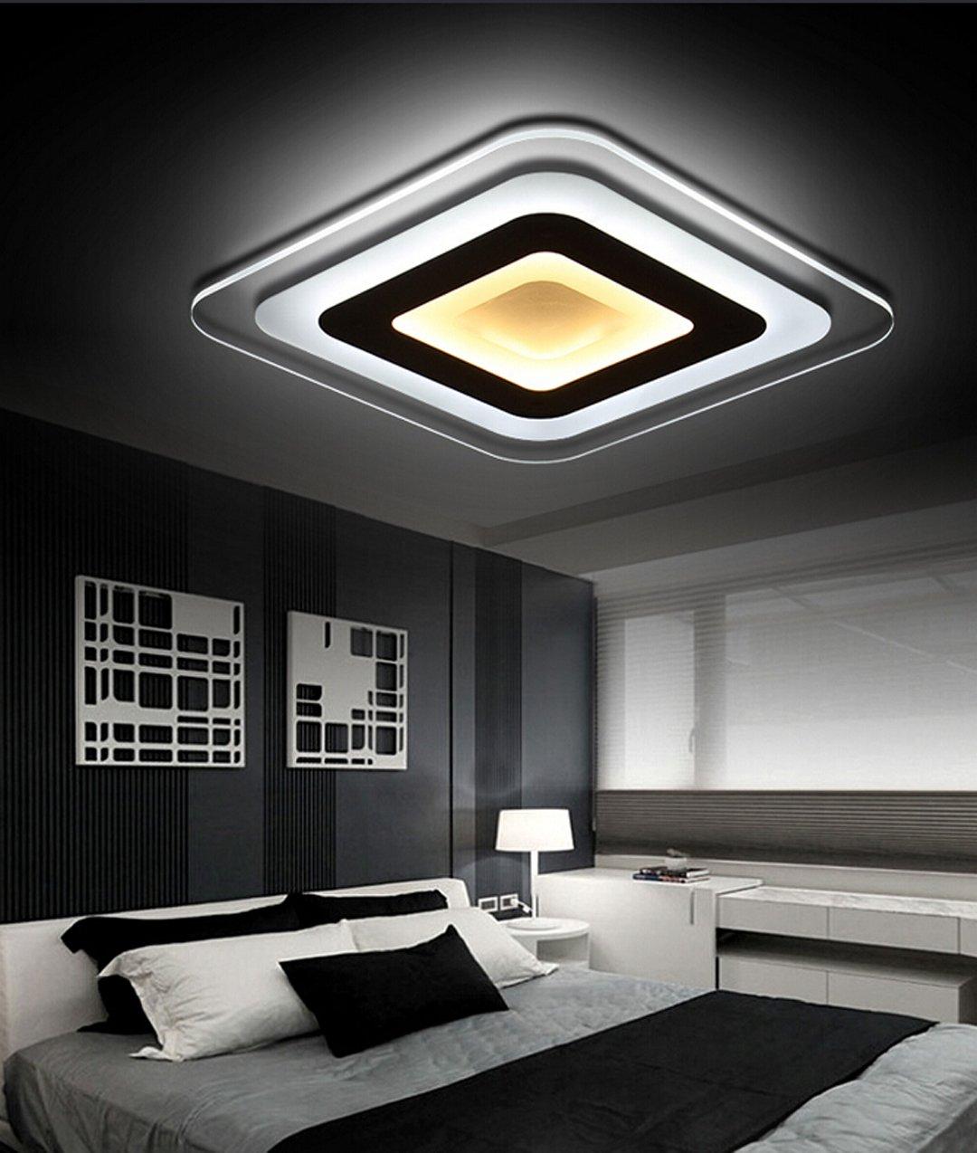 Moderne Minimalistische Led Decke Lampe Super Dünne Acryl Schlafzimmer Esszimmer Wohnzimmer Lampe Licht Kreative Ader Eine Studie Lampe, Weiß Box  45  45Cm Drei Farben Des Lichts