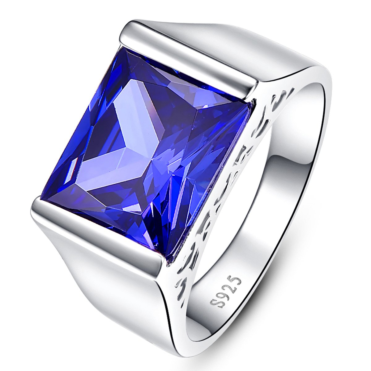 BONLAVIE Hollow Side Solid 925 Sterling Silver Fine Created Blue Tanzanite Ring for Men and Women Size 7