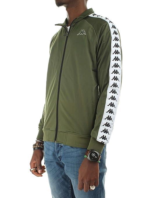 Amazon.com: Kappa Sweatshirt Mens Clothing with Zip 301EFU0 972 Banda Anniston Slim XL Verde Bianco: Clothing