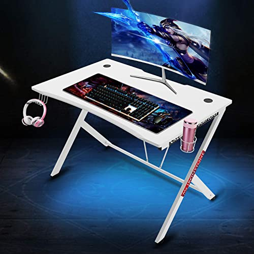 Mr IRONSTONE White Gaming Desk 45.3 Gaming Table Home Computer Desk with Cup Holder and Headphone Hook Gamer Workstation Game Table 45.3 Wx29 D White