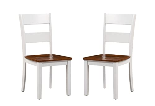 Trithi Furniture Fullerton Asian Solid Wood White Kitchen Dining Chair with Cherry Wood Seat, Set of 2