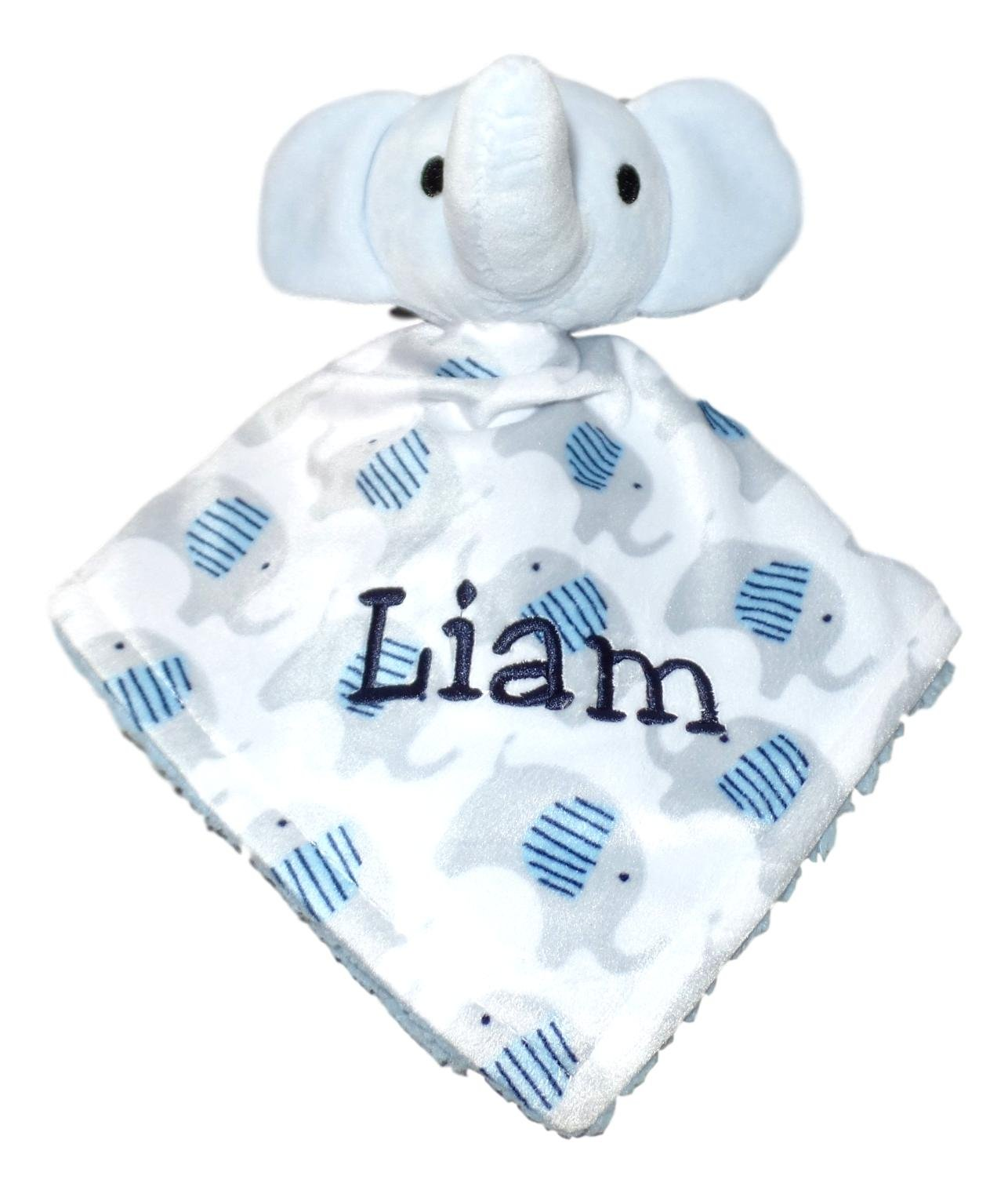 Plush Custom Embroidery Name Baby Blanket (30 x 40 inch) With Lovey Blanket - Excellent Gift Idea (Custom Embroidery Blue Elephant) by A Small Love (Image #3)