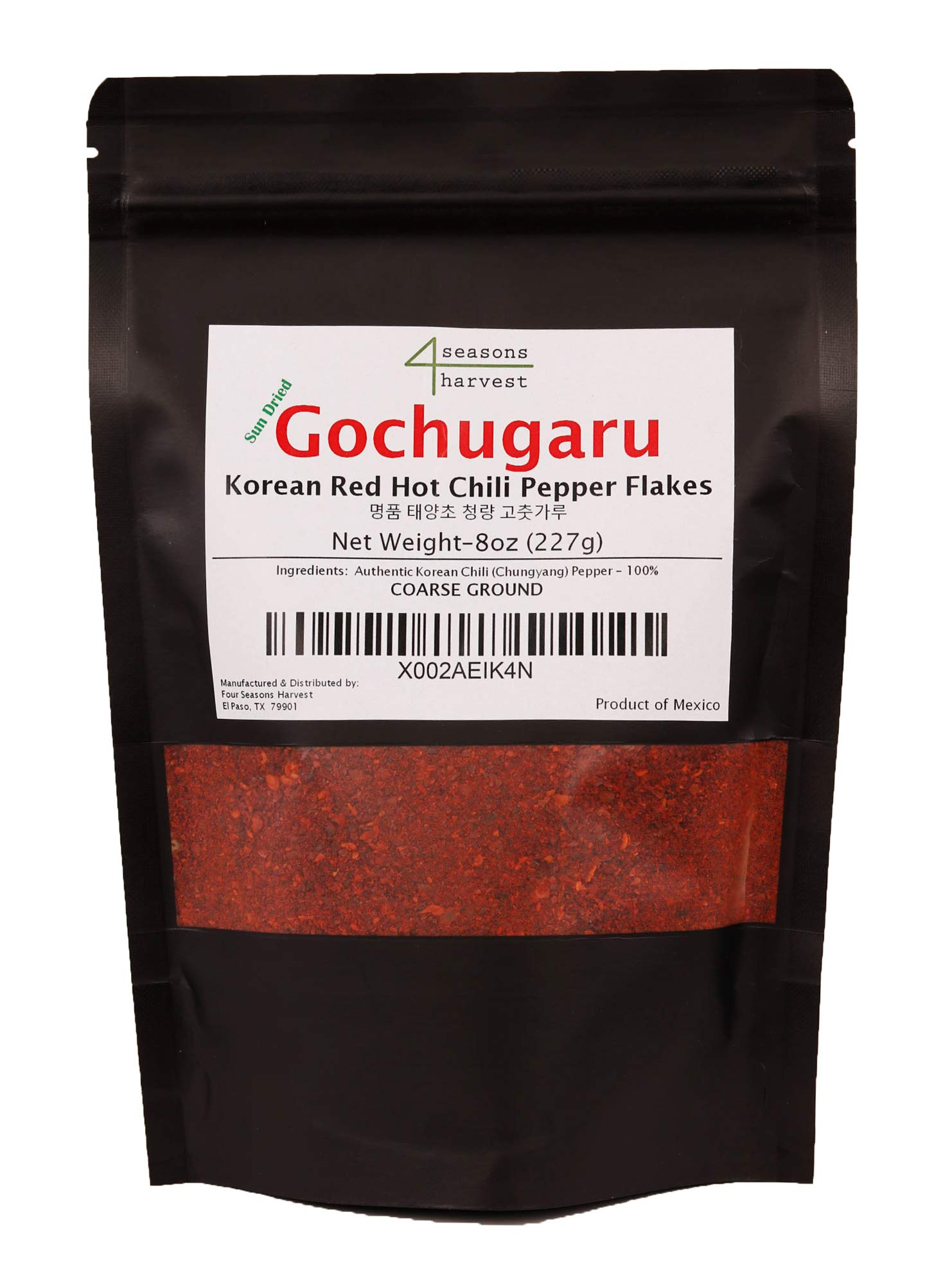 Korean Chili Powder Gochugaru - Sun Dried Non-GMO Red Pepper Flakes - Coarse Gound (8oz)