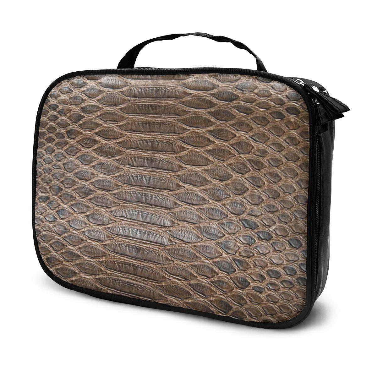 SZshenya Waterproof Cosmetic Bag With Handle, Portable Travel Cosmetics Bag For Women Alligator Black Skin Brown Crocodile Snake Serpent Snakeskin Abstract