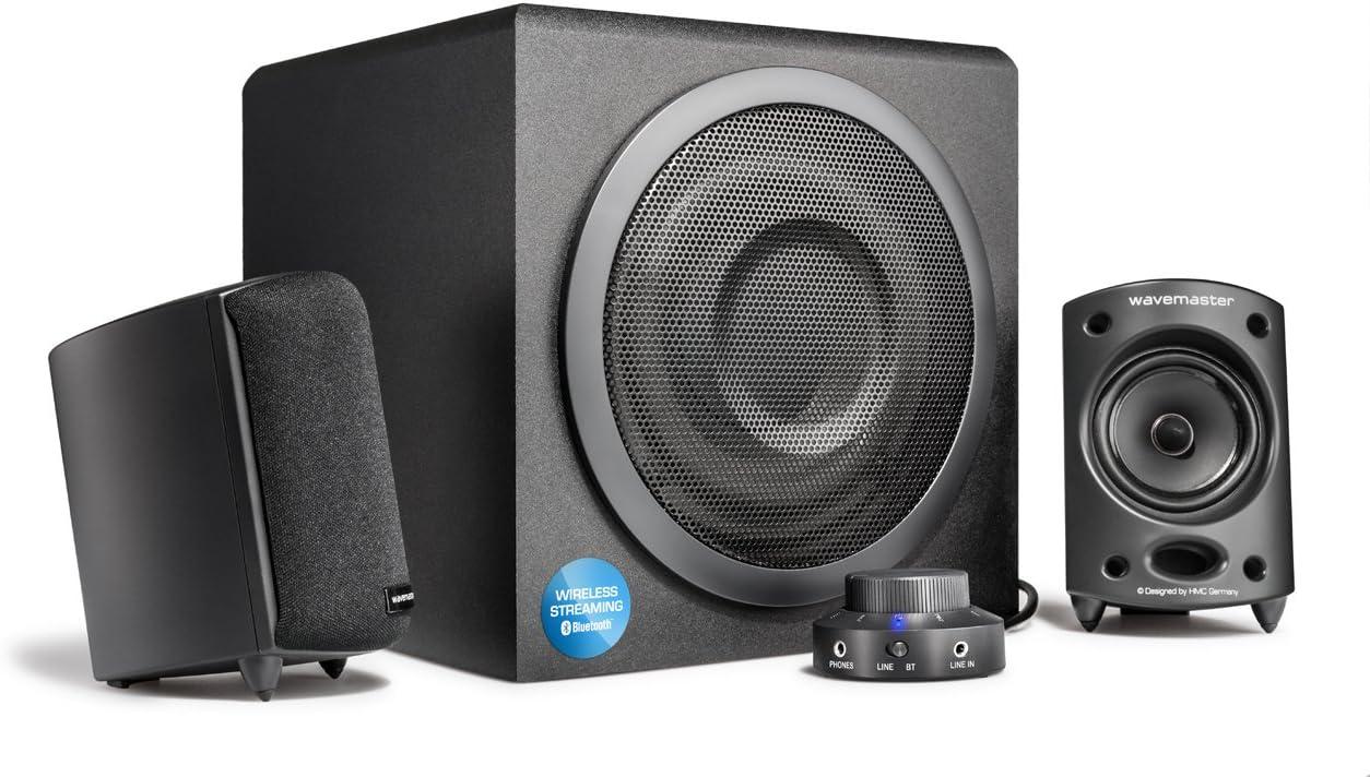Wavemaster Moody BT - Sistema de Altavoces Activos 2.1 (65 V) con Bluetooth, para el Uso con TV/Tableta/Smartphone/PC, Color Negro (66206)