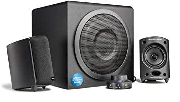 Wavemaster Moody BT - Sistema de Altavoces Activos 2.1 (65 V) con Bluetooth, para el Uso con TV/Tableta/Smartphone/PC, Color Negro (66206)