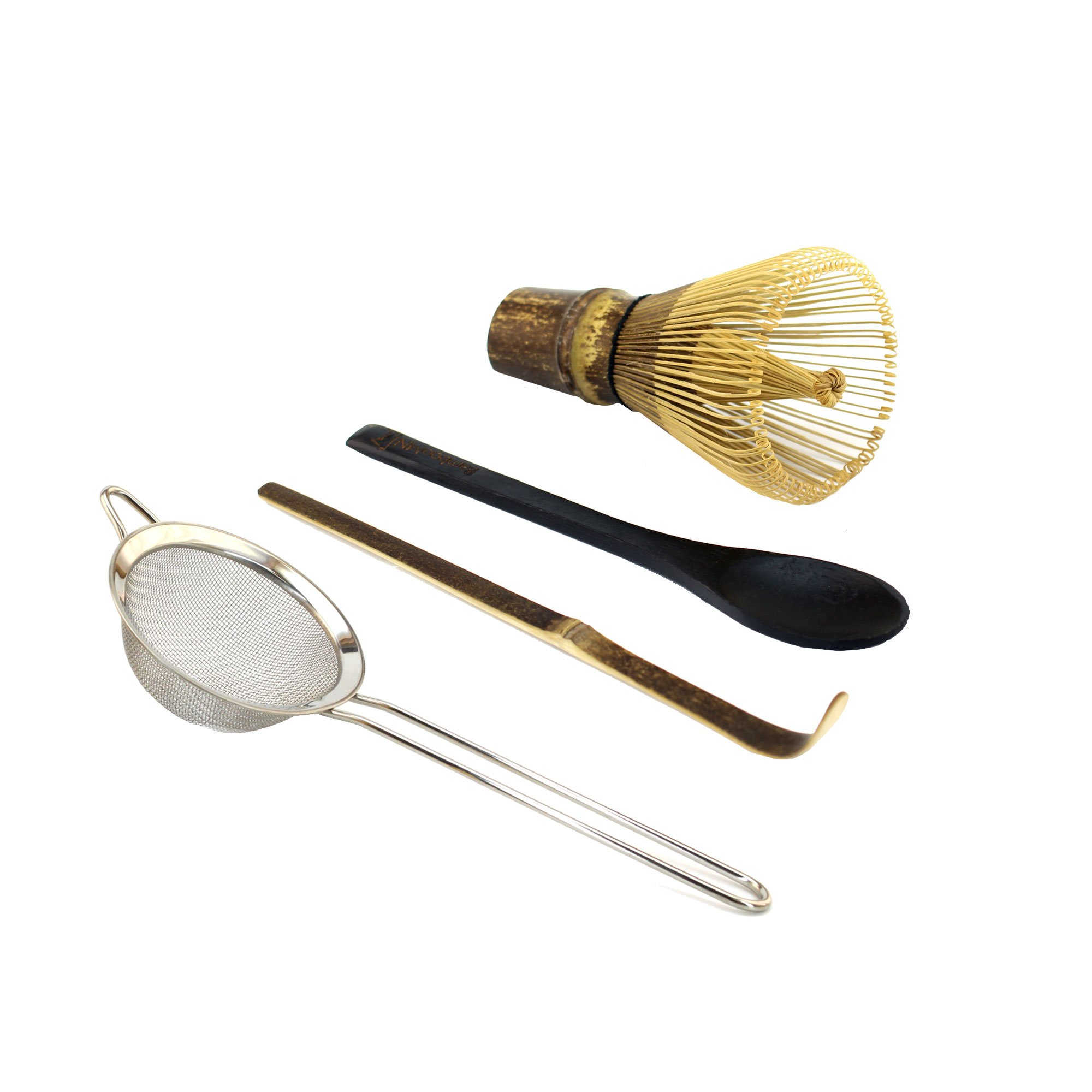 BambooMN Japanese Tea Set, Black Matcha Whisk (Chasen), Tea Strainer, Traditional Black Scoop (Chashaku), Black Teaspoon, The Perfect Set to Prepare a Traditional Cup of Matcha - 1 Set