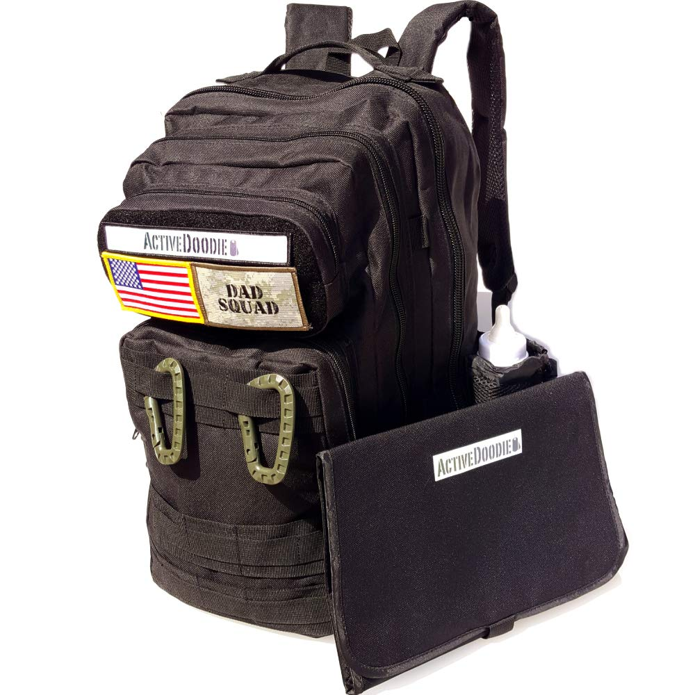 Active Doodie Diaper Backpack Bag + Changing Pad Combo, Dad Squad (Black)
