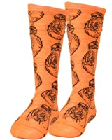 Star Wars Robot BB 8 Repeat Orange Long Socks Size 6-12 Black Movie Character
