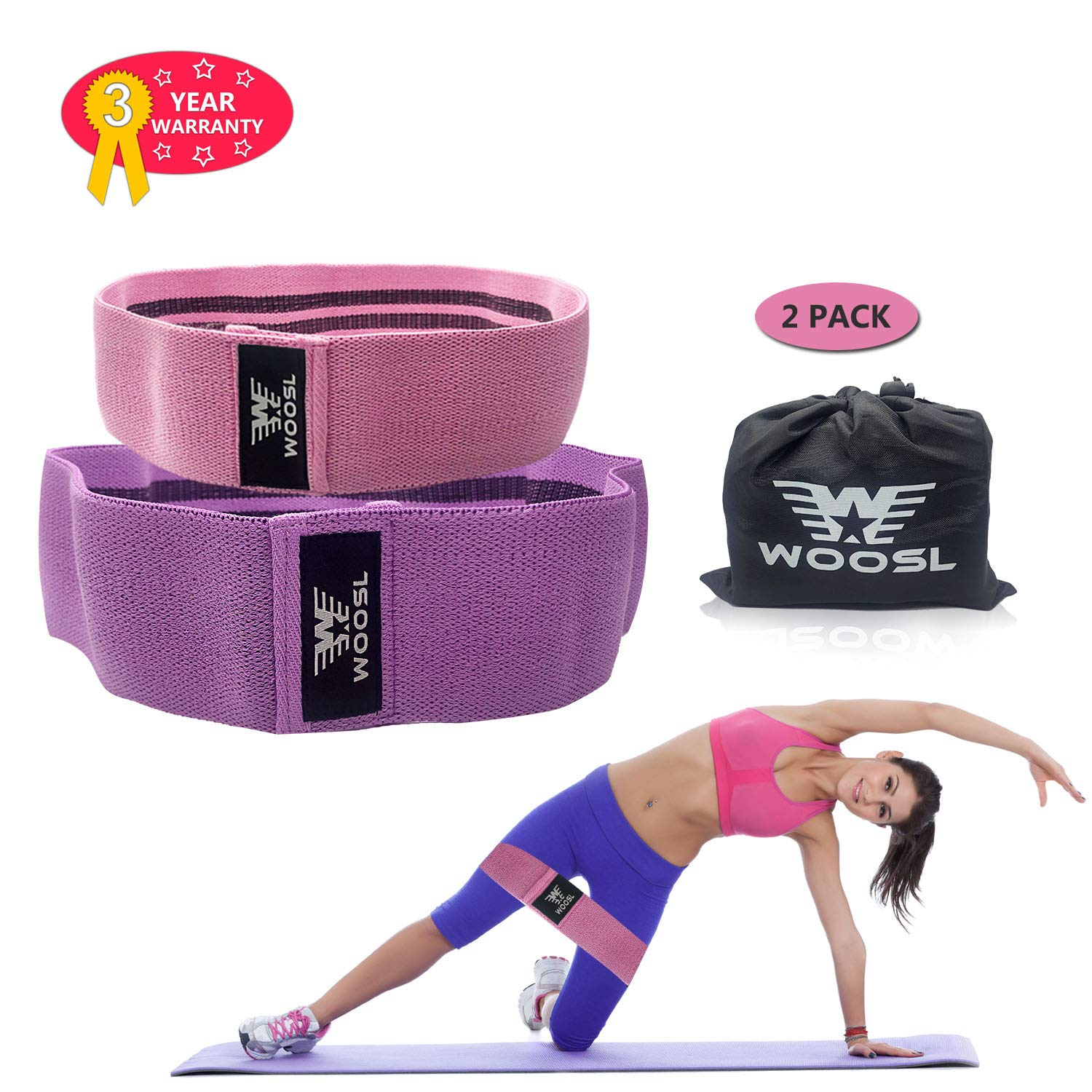 WOOSL Resistance Exercise Bands for Legs and Butt, Hip Bands Booty Bands Wide Workout Bands Resistance Loop Bands Anti Slip Circle Fitness Band Elastic Sports Bands by WOOSL (Image #1)