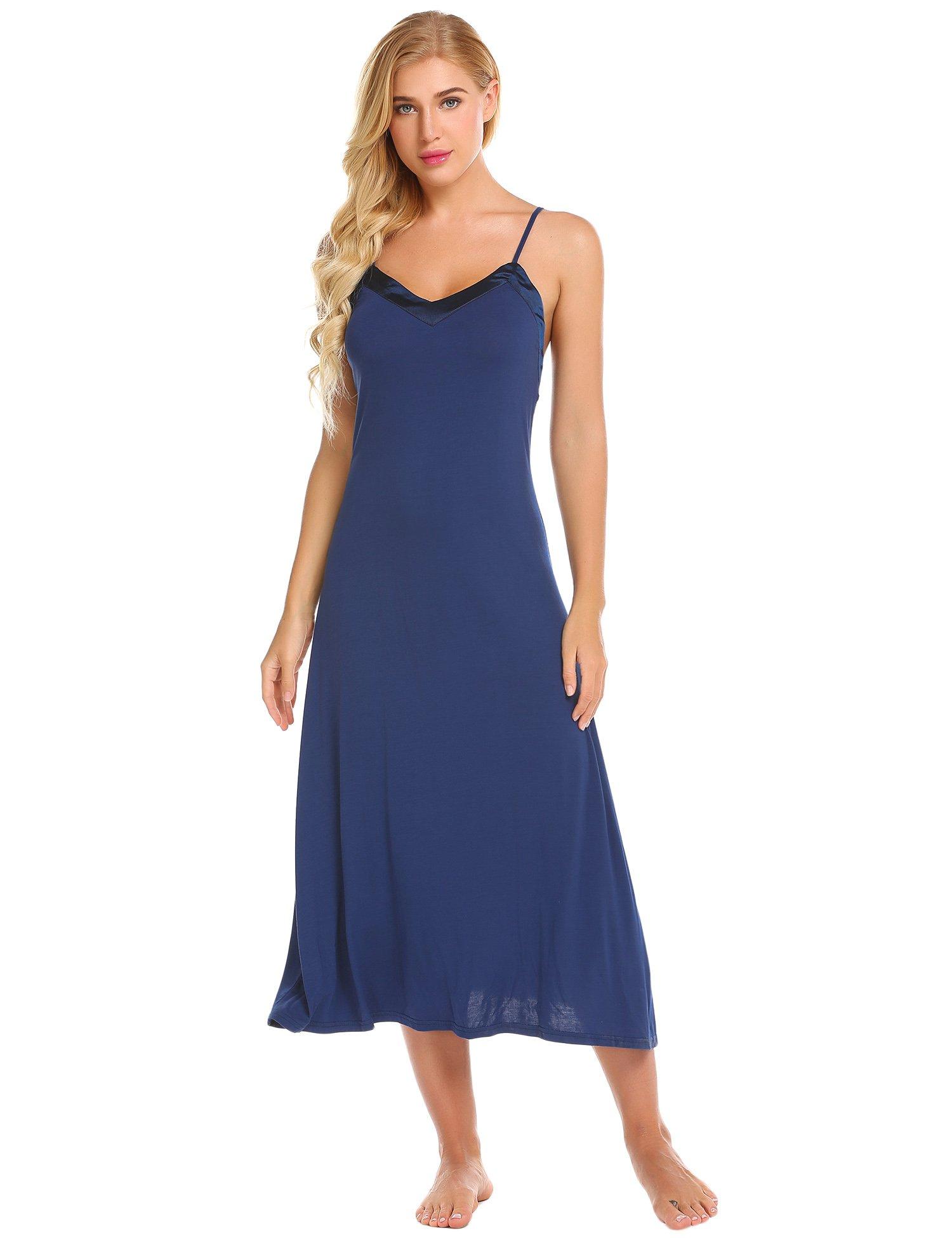 Ekouaer Womens Sleeveless Long Nightgown Summer Slip Night Dress Cotton Sleepshirt Chemise,C navy Blue,Small