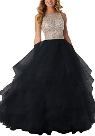 Womens Sparkly Beaded Prom Dresses Ball Gowns Tulle Long Evening Formal Dresses Black,2