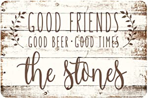 Pattern Pop Personalized Good Friends, Good Beer, Good Times Rustic Wood Look Metal Sign