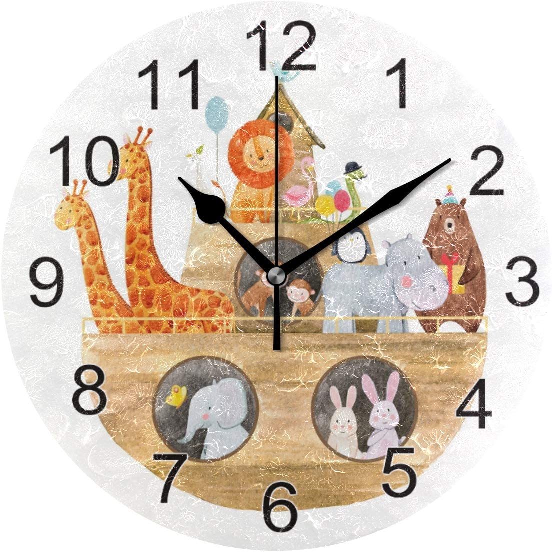 Exnundod Animal Noah's Ark Wall Clock, 9.5In Lion Giraffe Rabbit Desk Clock, Silent Non Ticking Clock, Home Decor for Kitchen Bedroom Office School Art