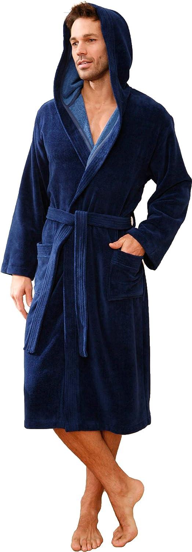 Morgenstern Bademantel mit Kapuze für Herren blau