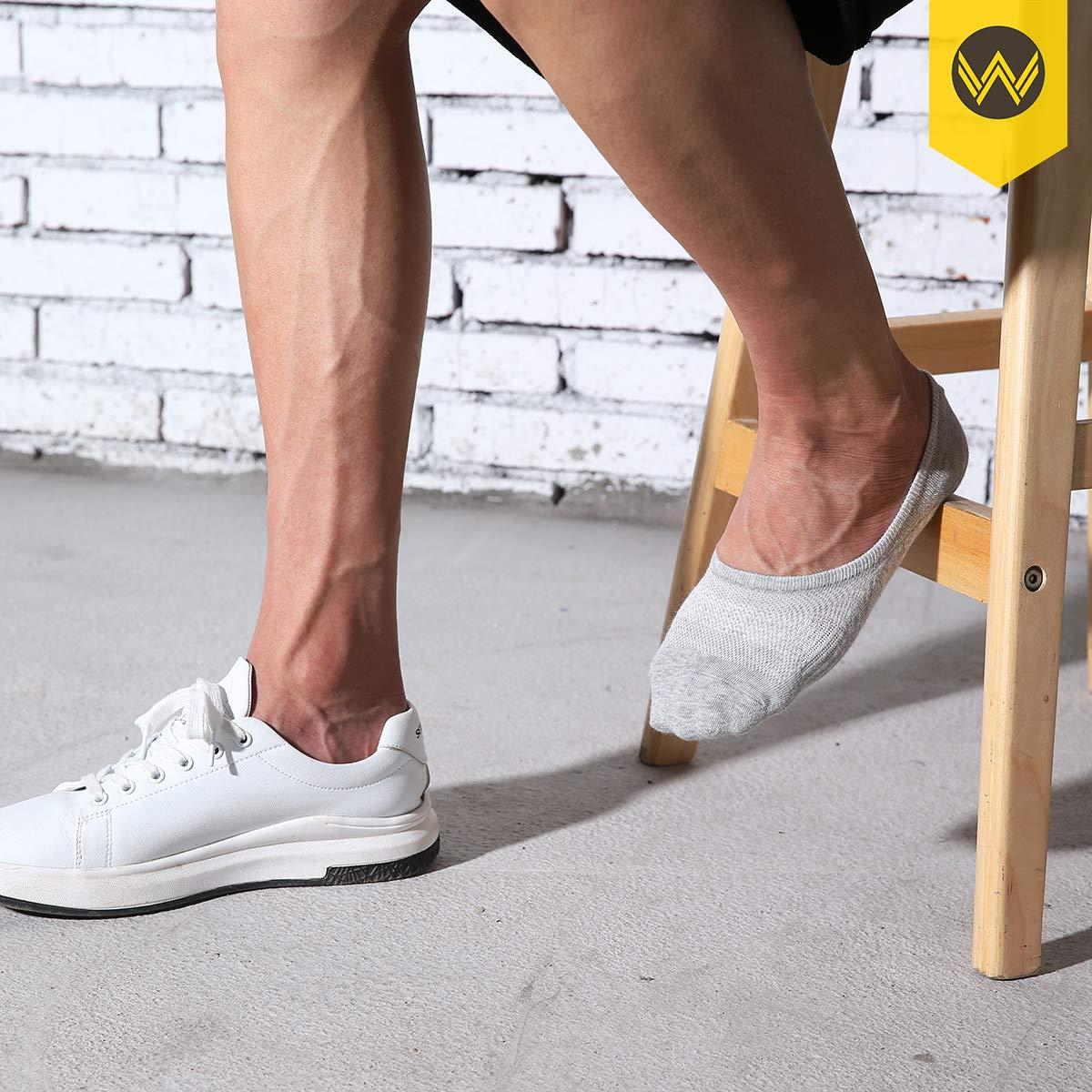 No Show Socks Mens 7 Pair Cotton Thin Non Slip Low Cut Men Invisible Sock 6-9//10-12