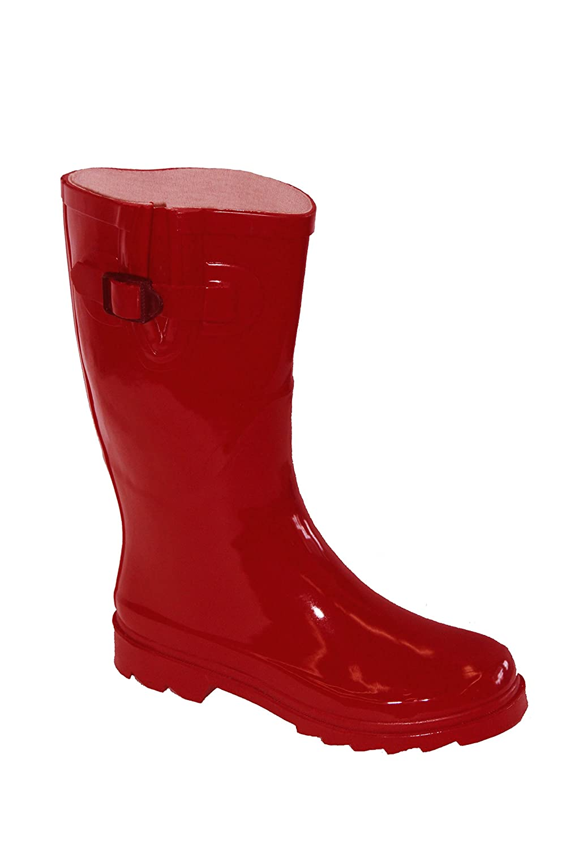 Own Shoe OwnShoe Womens Multiple Styles Rain Snow Winter Flat Rubber Mid Calf Short Rainboot RainS