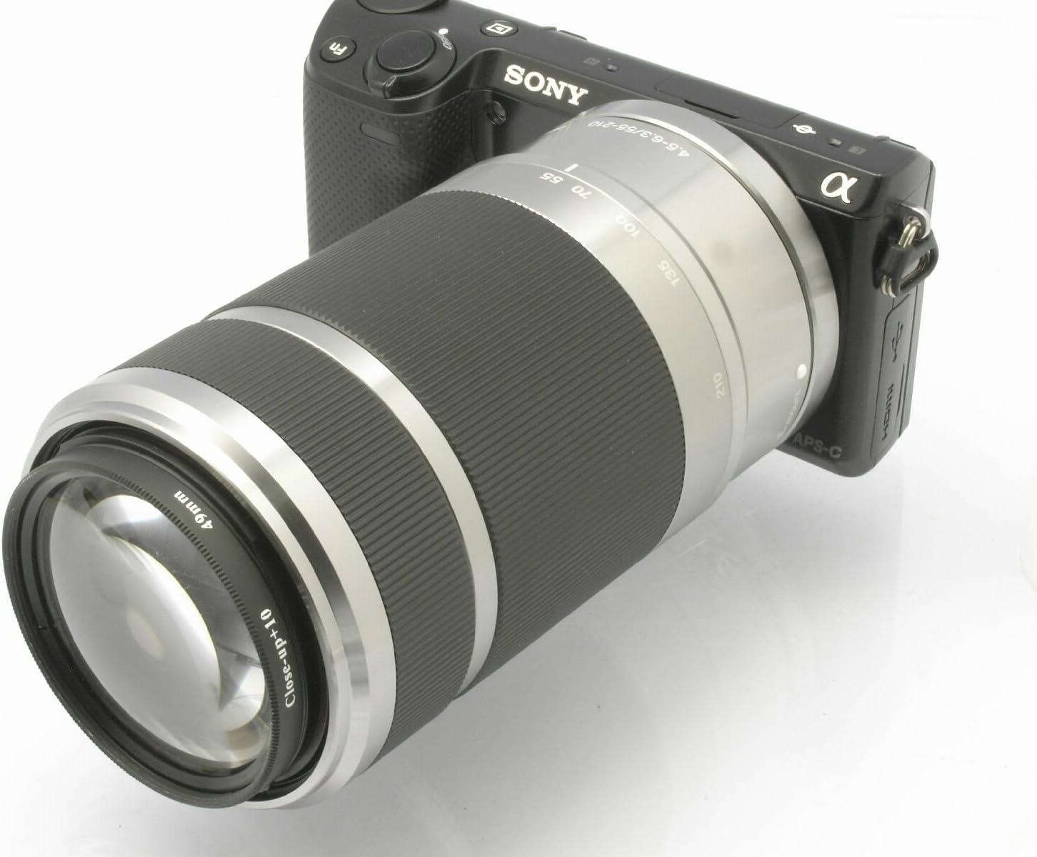55-210mm or 16-50mm Lenses 10 Diopter Closeup Lens and Step Ring for Sony Alpha NEX-7 NEX-6 NEX-5R NEX-5N NEX-5 NEX-3 NEX-C3 NEX-F3 with The 18-55mm Photo Plus