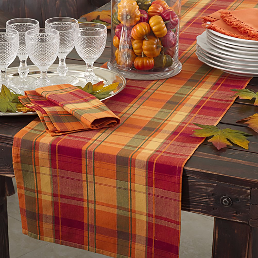 Occasion Gallery Terracotta Orange Holiday Harvest Plaid Design Cotton Runner. 16