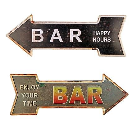amazon com new deco bar metal tin signs with rustic retro arrow