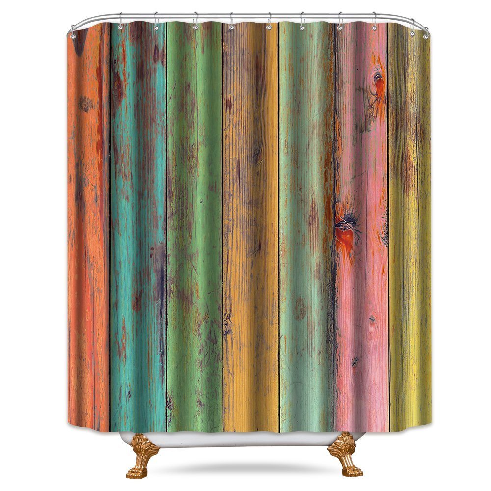 Riyidecor Colored Striped Wooden Shower Curtain Free Metal Hooks 12-Pack Green Yellow Red Wood Rainbow Vertical Wood Planks Decor Fabric Bathroom Set 72x72 Inch