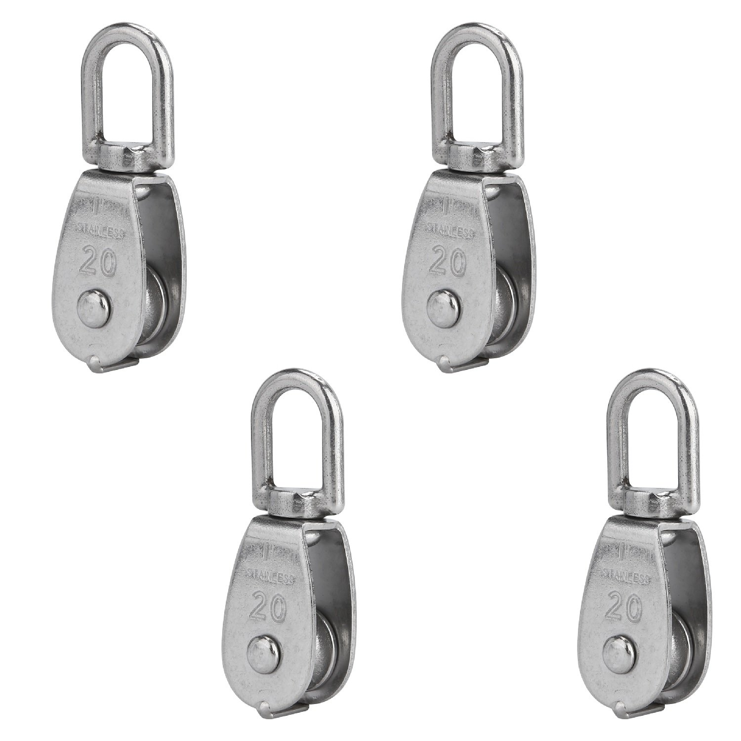 Anndason 4Pcs 304 Stainless Steel M20 20mm Wire Rope Single-sheaved Pulley Roller Loading 75kg