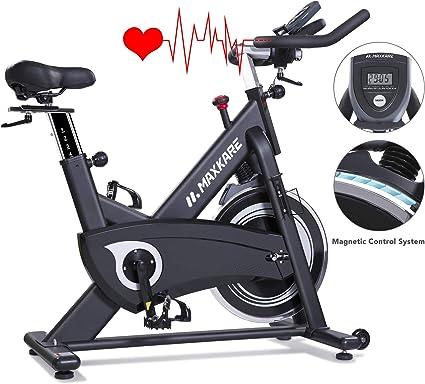 MaxKare - Bicicleta estática magnética con correa de transmisión ...