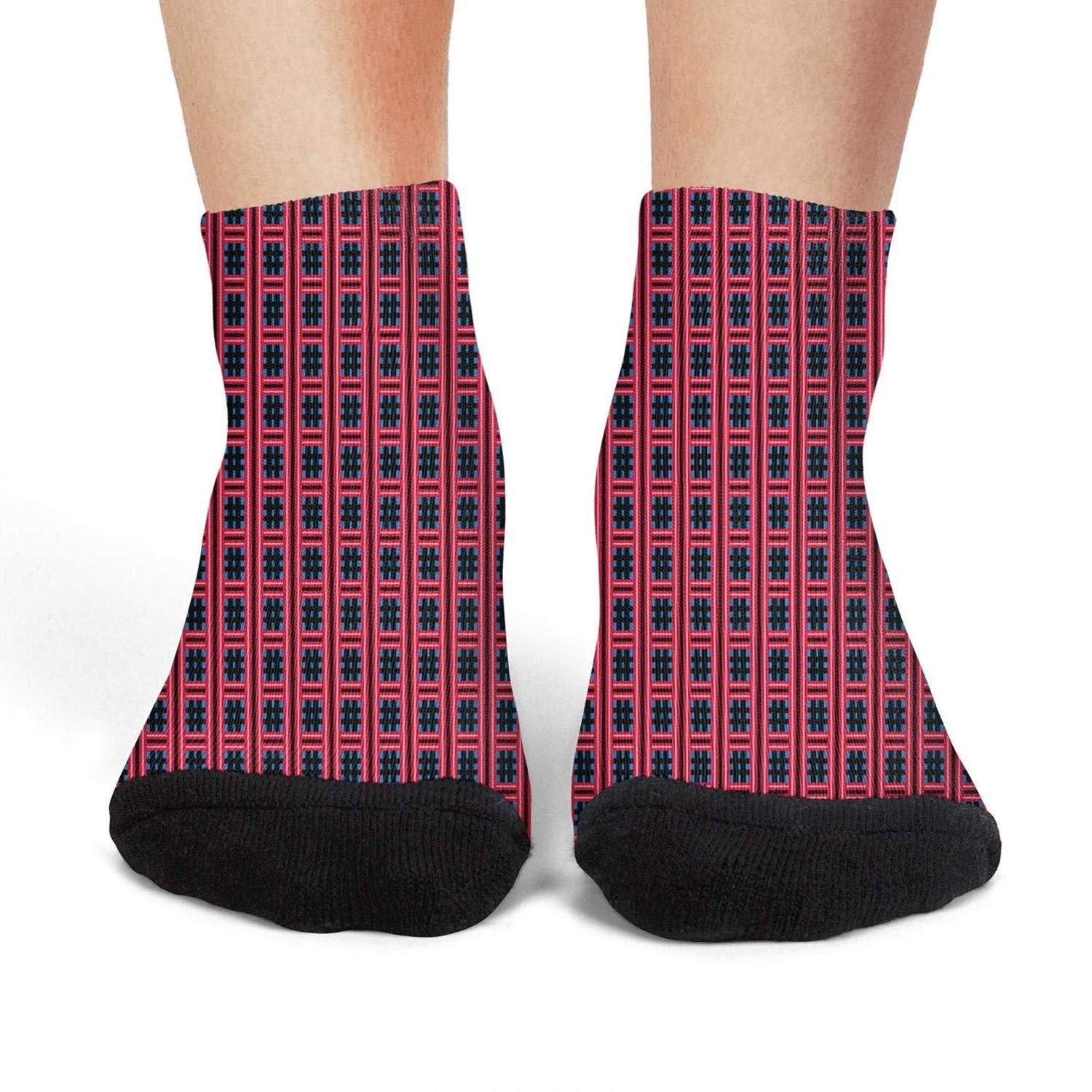 Plaid printing red Performance Low CutAthletic Non-Slid Ankle Socks for womens