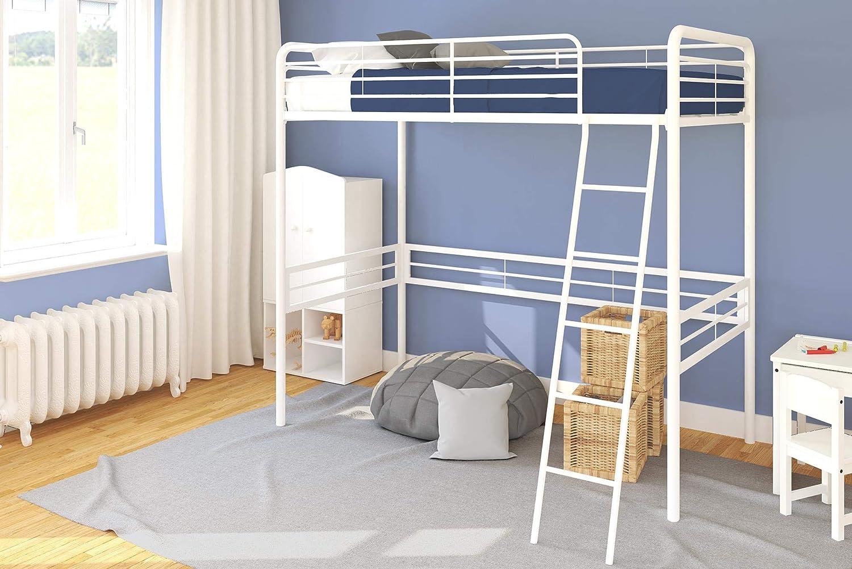 DHP Metal Loft Bed, White, Twin
