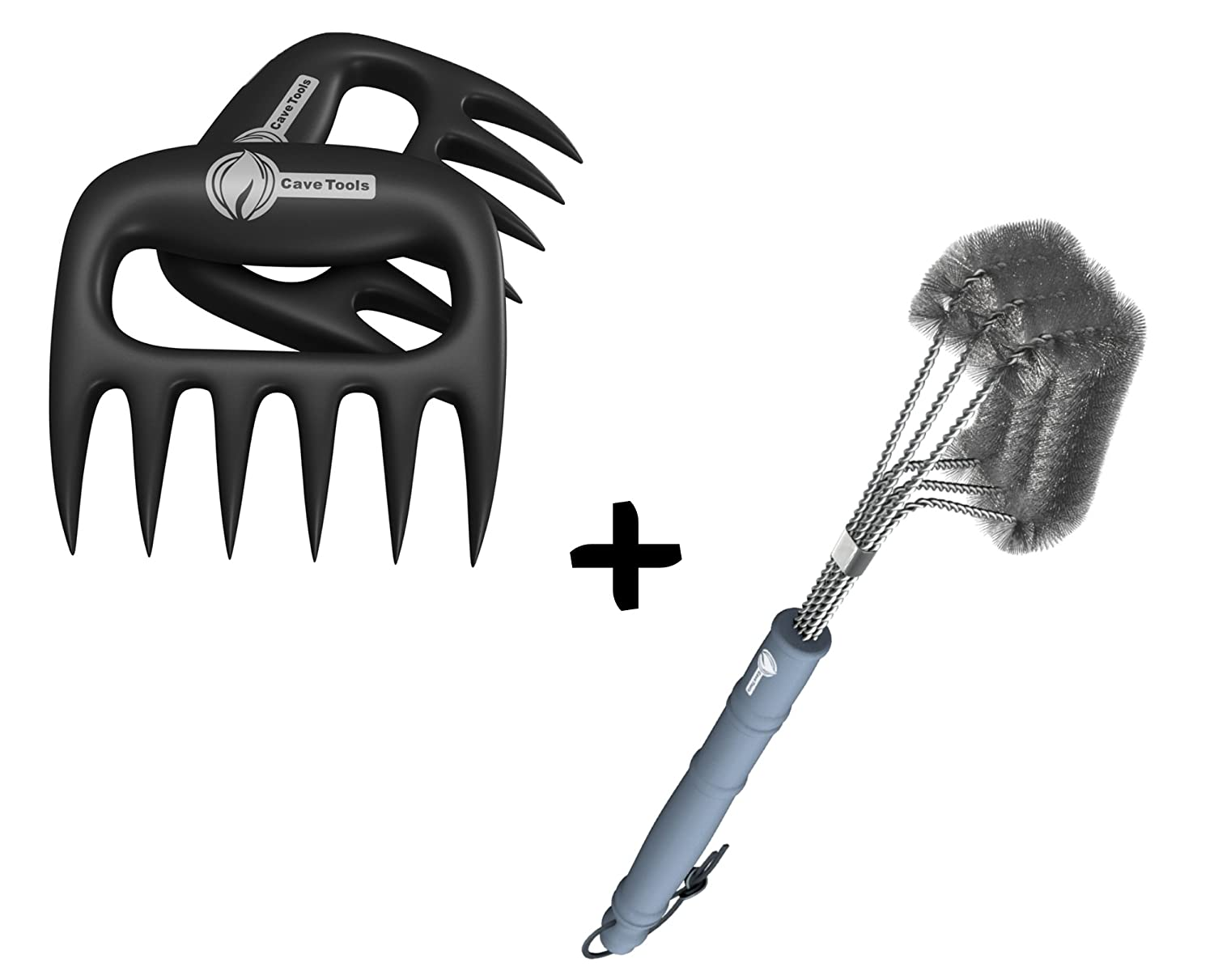 """Meat Claws + BBQ Grill Brush - ONLY 100% RUST PROOF DESIGN - Stainless Steel Wire Bristles with Strength Clip for Cleaning Char Broil Weber Porcelain and Infrared Barbecue Grates - 18"""" Long Handle"""