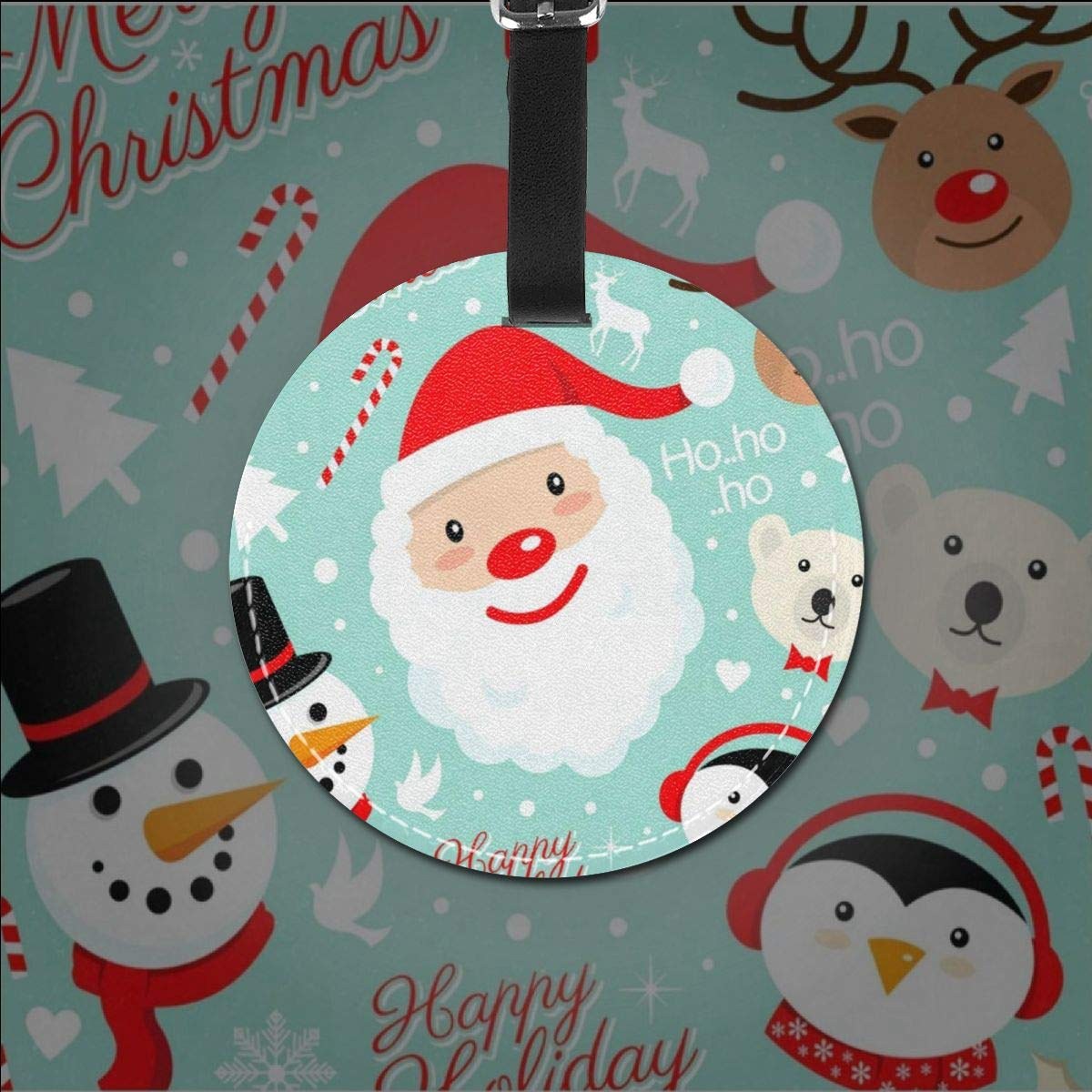 Round Luggage Tags Christmas Santa Claus Pattern Travel Accessories Suitcase Name Tags