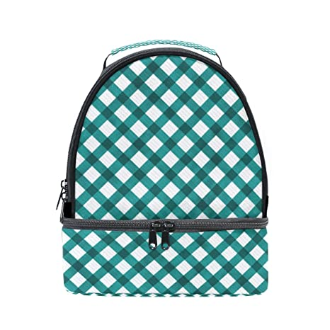 12f22ee48158 Amazon.com: My Daily Kids Lunch Box Teal Gingham Plaid Checkered ...